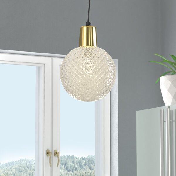 Brackman Etched Glass 1-Light Globe Pendant by Wrought Studio