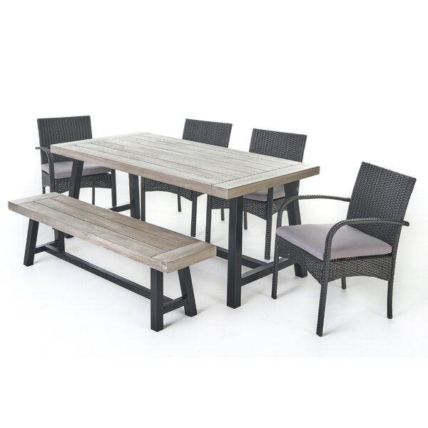 Ortonville 6 Piece Wicker Dining Set with Cushions by Gracie Oaks
