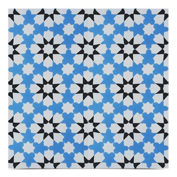 Ahfir Handmade 8x 8 Cement Field Tile in Blue/White by Moroccan Mosaic
