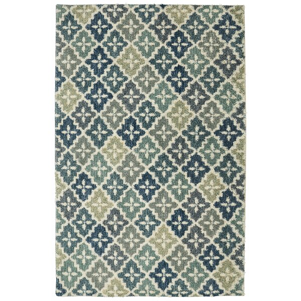 Tamesbury Panel Aqua Blue/Cream Area Rug by Red Barrel Studio