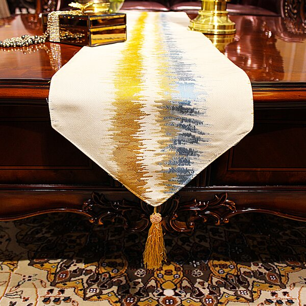Mckinnis Art Stripe Jacquard Table Runner by Bloomsbury Market