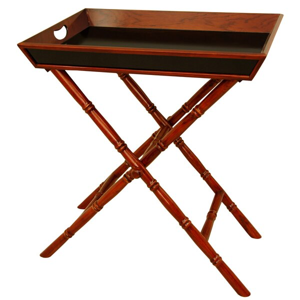 Bamboo Tea Tray and Trestle Stand Set by Oriental Furniture