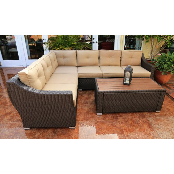 Hasan 7 Piece Rattan Sectional Seating Group with Cushions by Brayden Studio