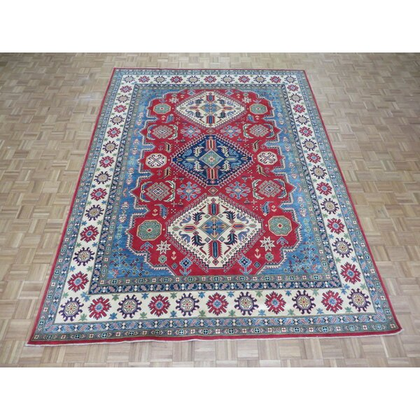 One-of-a-Kind Eliana Tribal Design Hand-Knotted Wool Red/Blue Area Rug by World Menagerie