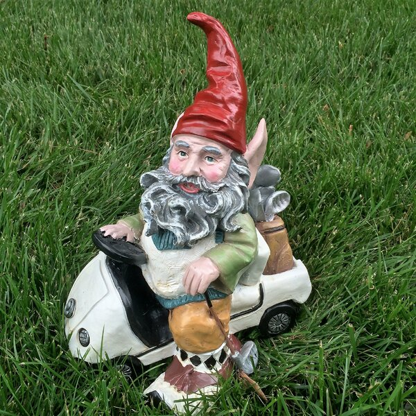 Nowaday Gnomes Golfer in His Golf Cart Statue by HomeStyles
