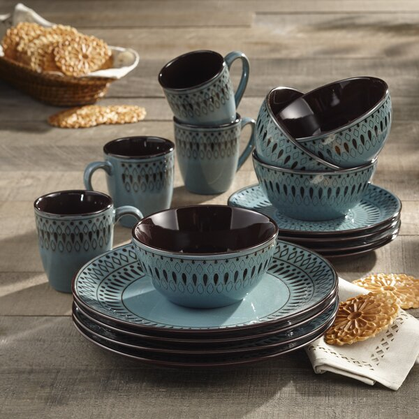 Fukuoka 16 Piece Dinnerware Set, Service for 4 by Mistana