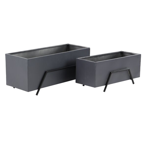 Hills Modern 2-Piece Metal Planter Box Set by Wrought Studio