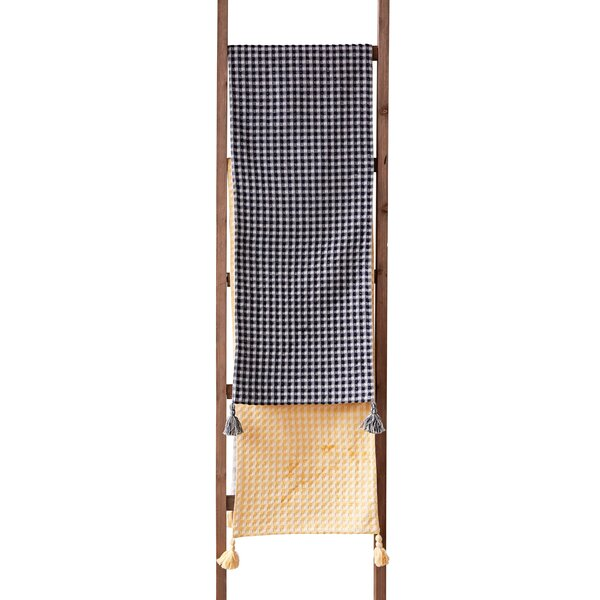 Oswald Tassel Cotton Waffle Weave Table Runner by Bungalow Rose