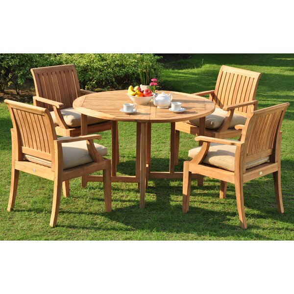 Jersey Luxurious 5 Piece Teak Dining Set by Rosecliff Heights