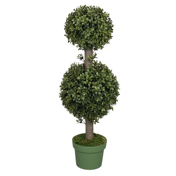 Artificial Double Boxwood Ball Topiary in Pot by Three Posts