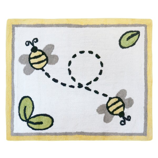 Honey Bee Hand Tufted White Area Rug by Sweet Jojo Designs