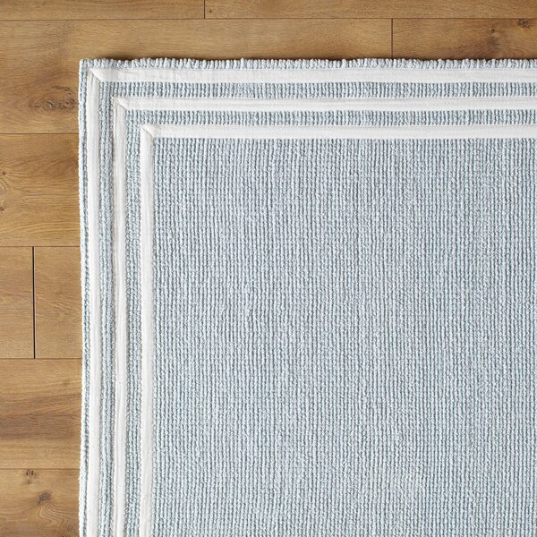 Three Strikes Sky Hand-Woven Blue Area Rug by Birch Lane Kids™