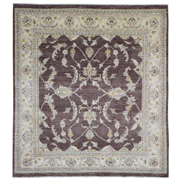One-of-a-Kind Courter Pakistan Peshawar Oriental Hand-Woven Wool Burgundy/Beige Area Rug by Isabelline