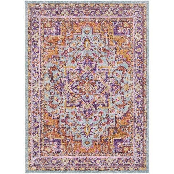 Kahina Vintage Distressed Oriental Purple/Orange Area Rug by Bungalow Rose
