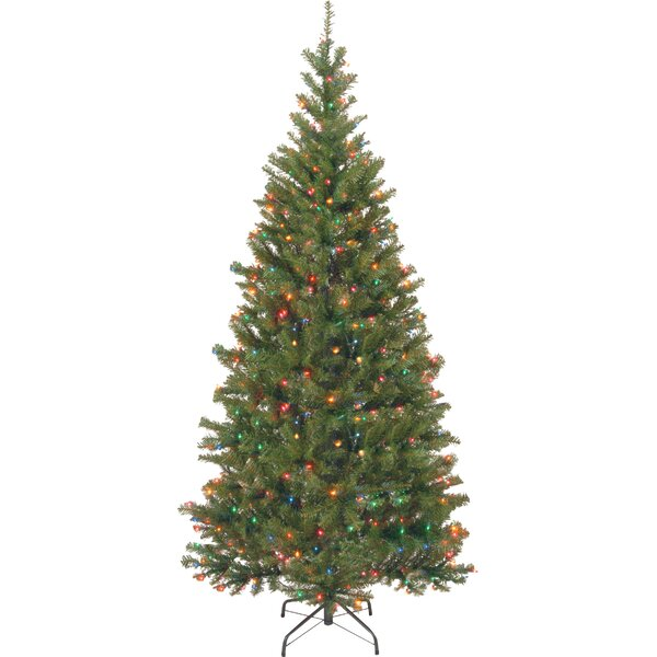 Aspen Hinged Green Spruce Artificial Christmas Tree with Multi-Colored Lights with Stand by National Tree Co.