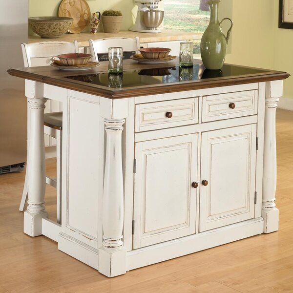 Giulia Traditional Kitchen Island Set with Granite Top by Laurel Foundry Modern Farmhouse