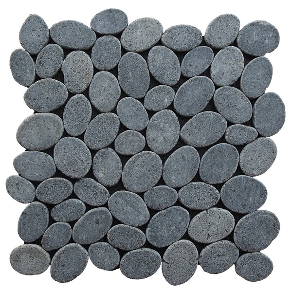 Coin Random Sized Natural Stone Pebble Tile in Black by Pebble Tile
