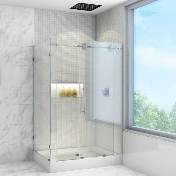 Frameless Sliding Shower Doors vigo winslow 36 x 48-in. frameless sliding shower enclosure with