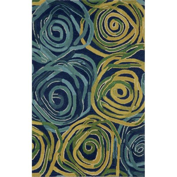 Terrill Rose Navy/Yellow Area Rug by Brayden Studio
