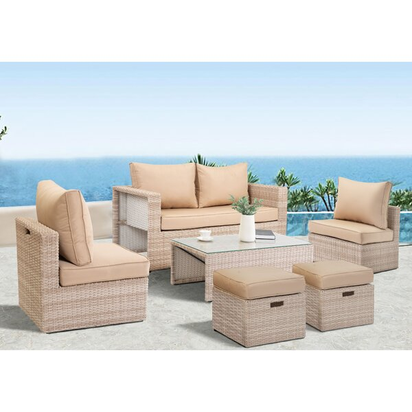 Farrah Rattan 6 Piece Sofa Seating Group with Cushions by Rosecliff Heights