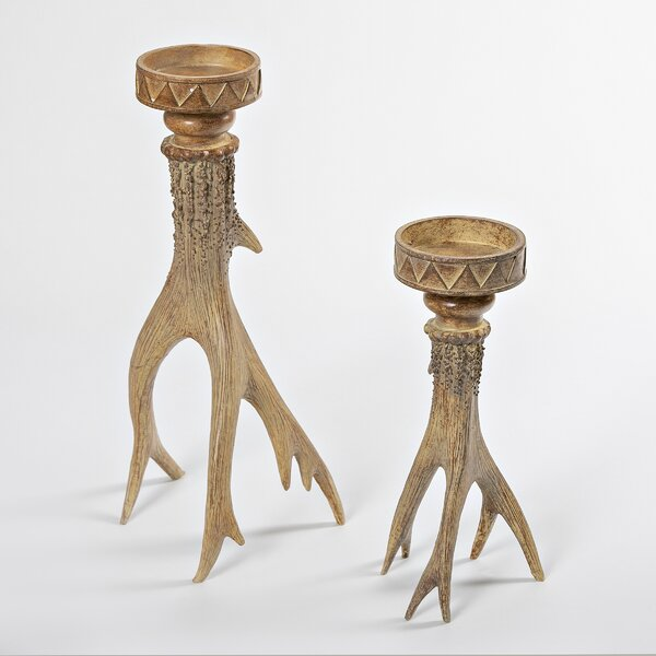 Antler Look 2 Piece Manufactured Wood Candlestick Set by Loon Peak