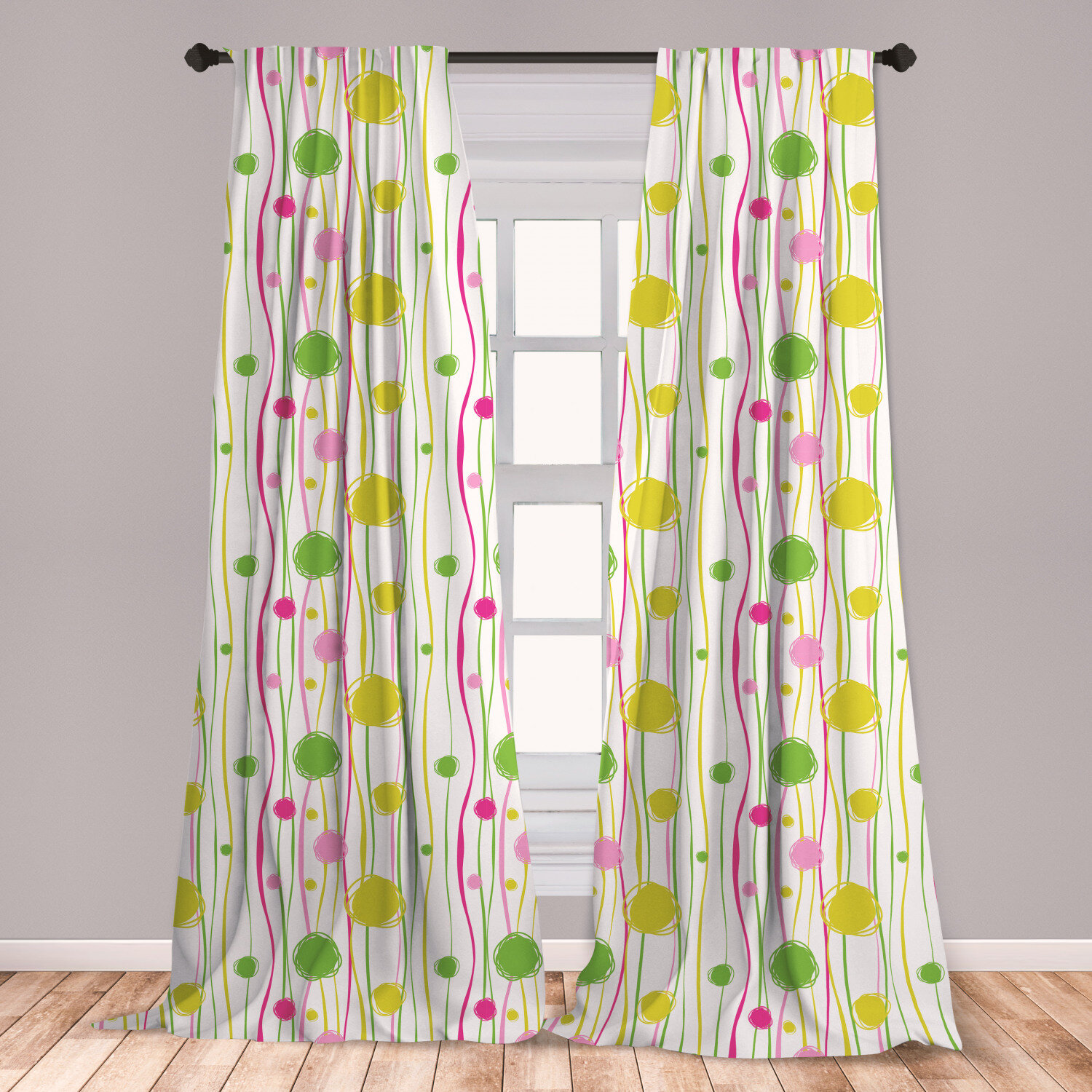 Ambesonne Green And Pink Curtains, Doodle Style Random Wavy Stripes With  Big Small Spots Kids Art Theme, Window Treatments 2 Panel Set For Living  Room ...