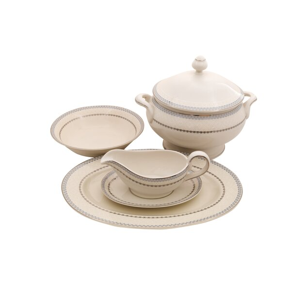 Wik Ivory China Special Serving 5 Piece Dinnerware Set by Shinepukur Ceramics USA, Inc.