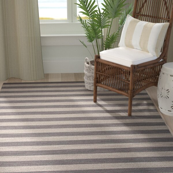 Rosebank Gray/Green Stripe Area Rug by Breakwater Bay