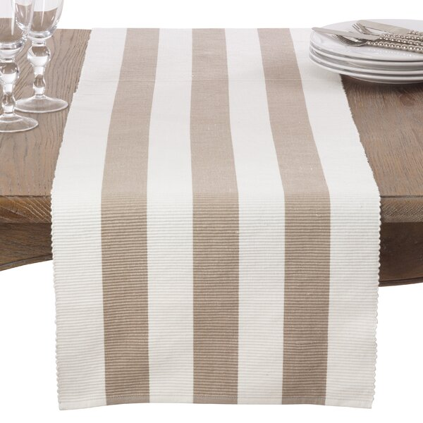 Ribbed Stripe Cotton Table Runner by Saro