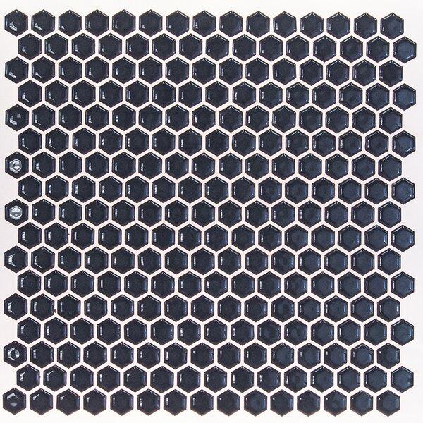 Bliss 0.6 x 0.6 Ceramic Mosaic Tile in Midnight Blue by Splashback Tile