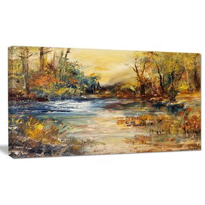 'Stream in Forest Oil Painting' Painting Print on Wrapped Canvas by Design Art