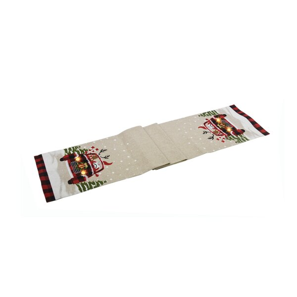 Tennyson Snowy Car by Santa Light Up Christmas Table Runner by The Holiday Aisle
