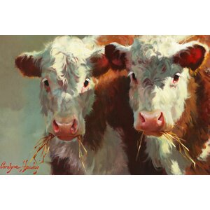 'Cow Belles' Painting Print on Canvas by East Urban Home