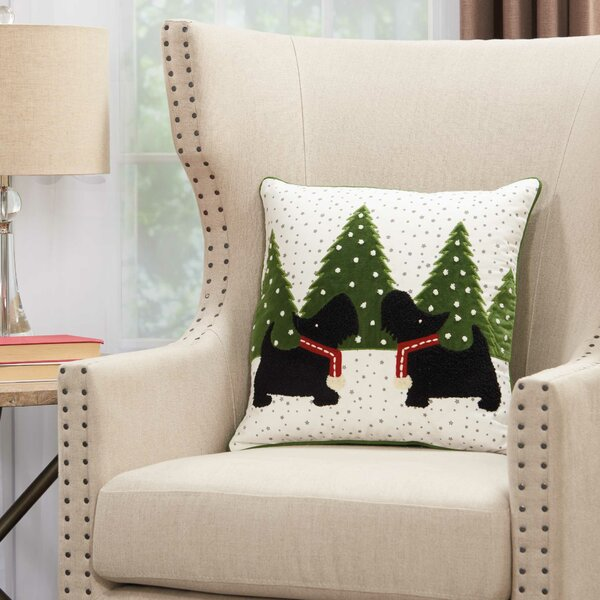 Thaddeus Festive Scotties Cotton Throw Pillow by The Holiday Aisle