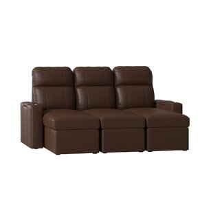 Leather Home Theater Sofa with Track Arm (Row of 3) Red Barrel Studio