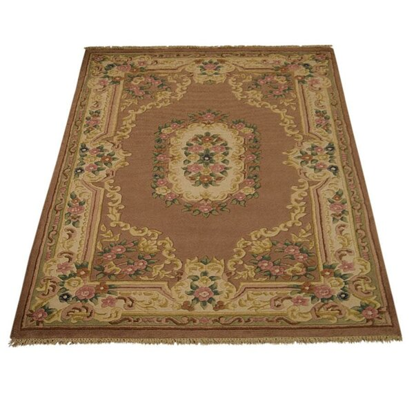 Fetters Oriental Hand-Knotted Wool Brown/Beige Area Rug by Astoria Grand