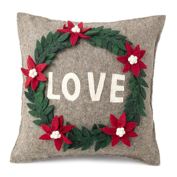 Love Wreath Wool Pillow Cover by Arcadia Home