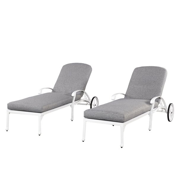 Floral Blossom Chaise Lounge Chairs with Cushion (Set of 2) by Home Styles