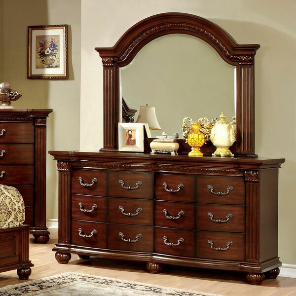Pugh 12 Drawer Double Dresser with Mirror by Astoria Grand