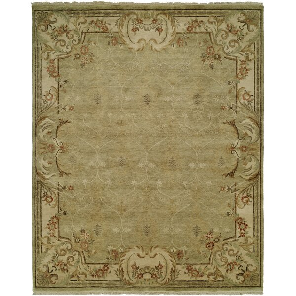 Marwood Hand Knotted Wool Green/Ivory Area Rug by Astoria Grand