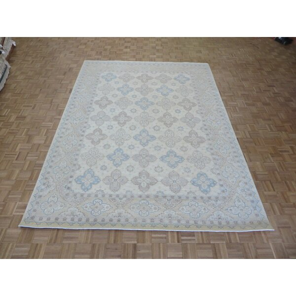 One-of-a-Kind Josephson Peshawar Khotan Oushak Hand-Knotted Rayon from Bamboo Silk Ivory Area Rug by Canora Grey