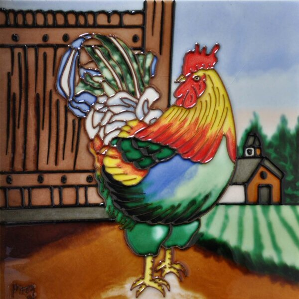 Multi Color Rooster Tile Wall Decor by Continental Art Center