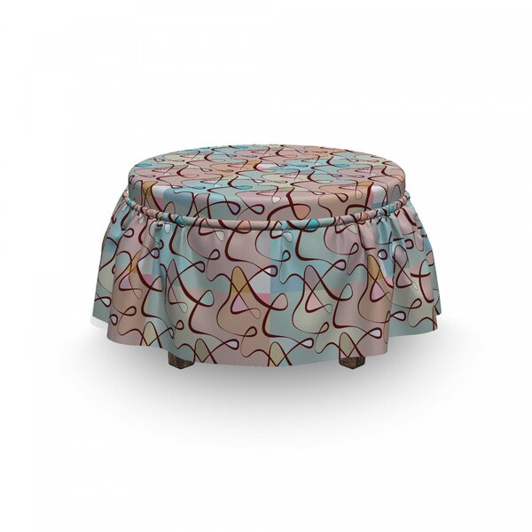 Soft Ed Tangled Lines Ottoman Slipcover (Set Of 2) By East Urban Home