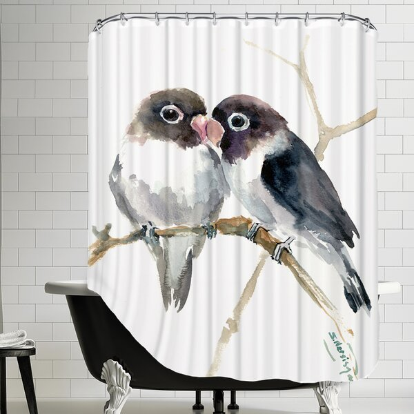 Gray Masked Lovebirds Shower Curtain by East Urban Home