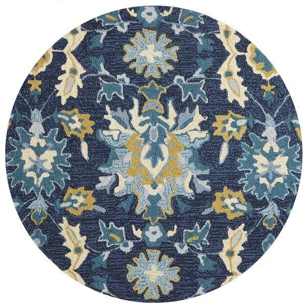 Kips Bay Hand-Hooked Blue/Beige Area Rug by Charlton Home