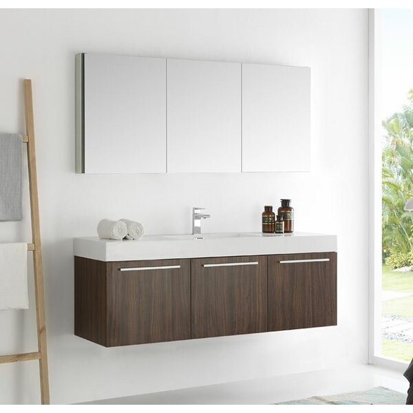 Senza 60 Vista Single Wall Mounted Modern Bathroom Vanity Set with Mirror by Fresca