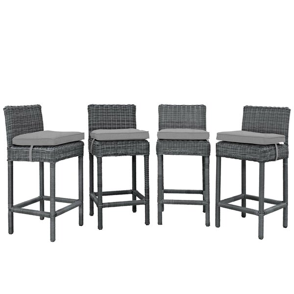 Keiran 27.5 Patio Bar Stool with Cushion (Set of 4) by Brayden Studio