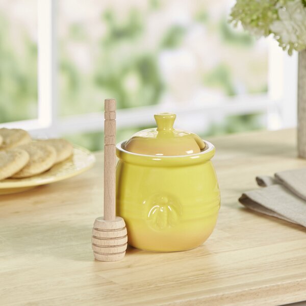 Honey Pot with Dipper Storage Jar by Tucker Murphy