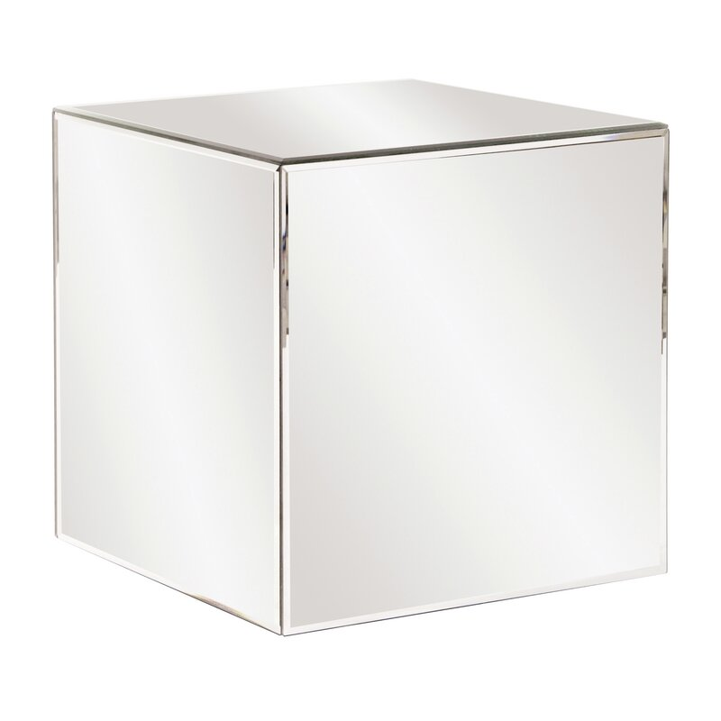 Orren Ellis Charee Mirrored Cube End Table Reviews Wayfair - Mirrored cube end table