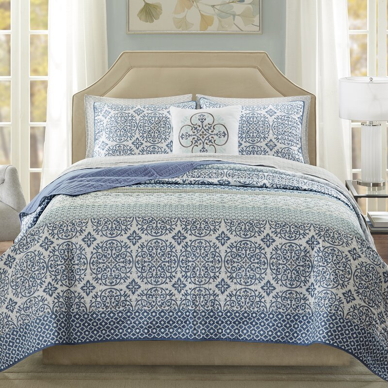 Alcott Hill Wedgewood Complete Coverlet And Cotton Sheet Set Reviews Wayfair